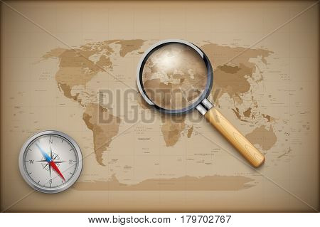 Vintage World Map with magnify and compass. Retro illustration