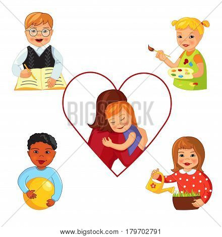 Children with Down syndrome doing different activities like learning and playing, working and drawing, Cartoon vector illustration