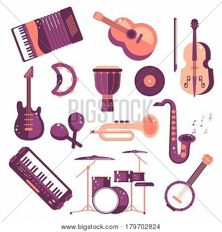 musical instruments cartoon vector set. synthesizer, djembe, drum, violin, saxophone, accordion, tambourine, maracas, trumpet, drive, bass guitar