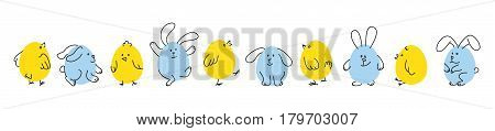 Easter horizontal border, Set of funny doodle chicks and bunnies, Flat vector illustration