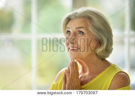 Portrait of a beautiful senior woman close up