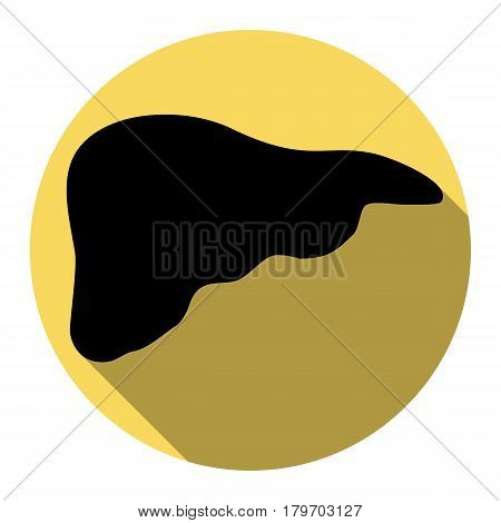 Human anatomy illustration. Liver sign. Vector. Flat black icon with flat shadow on royal yellow circle with white background. Isolated.