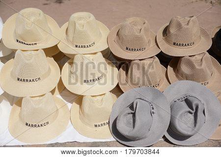 Tourist souvenir fedora hats in a souk in Marrakech, Morocco