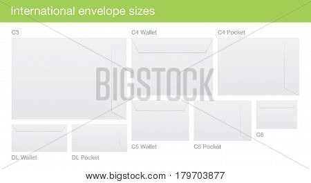 Set of white vector envelopes, with international standard sizes, isolated on background.