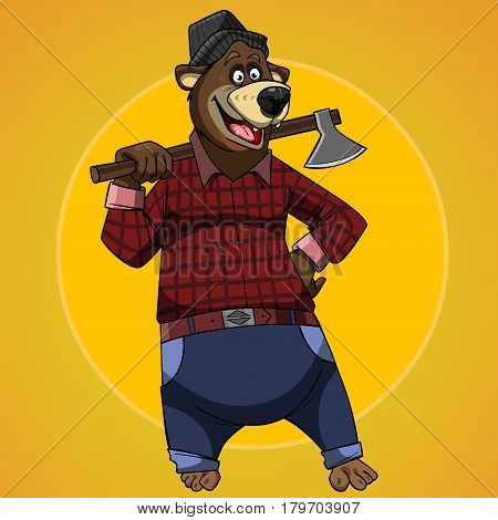 cartoon character bear dressed in the clothes of a lumberjack with an axe