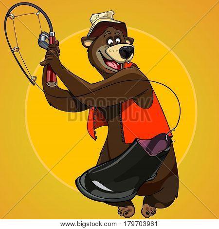 cartoon character bear fisherman caught the bait boot