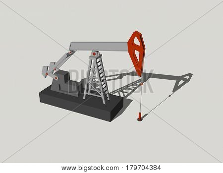 Oil pump jack.Isolated on grey background.3D rendering illustration.