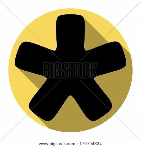 Asterisk star sign. Vector. Flat black icon with flat shadow on royal yellow circle with white background. Isolated.