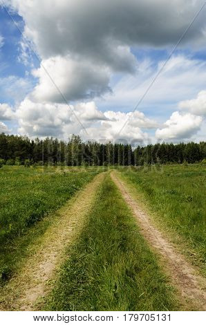 Country dirt road trough the green meadow on forest background. White clouds in blue sky
