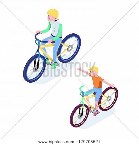 Isometric People. Isometric Bicycle isolated. Cyclist icon. 3D Flat isometric people set cyclist bicycle icons.