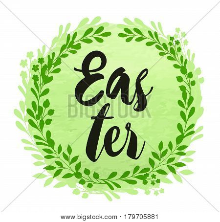 Abstract green floral background with lettering for Easter