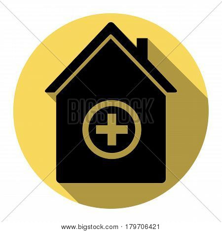 Hospital sign illustration. Vector. Flat black icon with flat shadow on royal yellow circle with white background. Isolated.