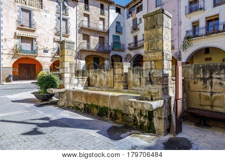 Source of the square of the village in Talarn Catalonia Spain