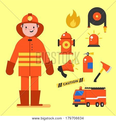 Fireman character design with fireman icons set. Fireman elements for info graphic. Vector illustration