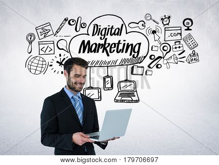 Digital composite of Businessman with digital marketing drawings graphics
