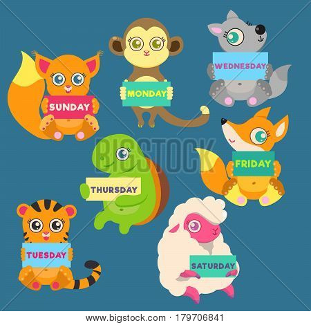 DAYS OF THE WEEK. Animals hold signs with days of the week: SUNDAY, MONDAY, TUESDAY, WEDNESDAY, THURSDAY, FRIDAY, SATURDAY. Sheep, monkey, tiger, wolf, turtle, Fox, squirrel.
