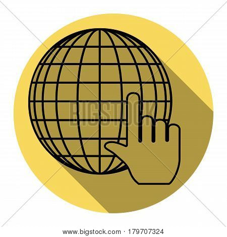 Earth Globe with cursor. Vector. Flat black icon with flat shadow on royal yellow circle with white background. Isolated.