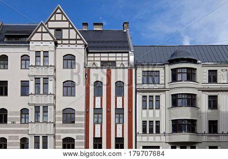 Riga Brivibas 46 and Dzirnavu 63 Art Nouveau. Architect Constantine Pekshens. poster