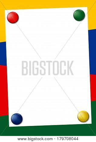 Blank A4 paper fixed with colored magnets in corners: red, green, blue and black. Empty page on bright background. Colored vector frame with place for text.