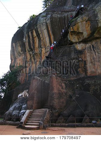 The lion mountain Sigiriya, Ceylon, Sri Lanka
