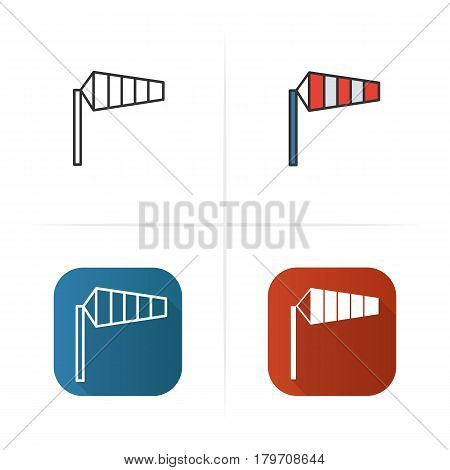Airport windsock icon. Flat design, linear and color styles. Isolated vector illustrations