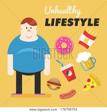 Unhealthy Lifestyle. Concept of unhealthy lifestyle. Fat man and his bad habits. Vector illustration