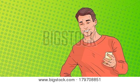 Young Man Using Cell Smart Phone Chatting Online Over Pop Art Colorful Retro Style Background Vector Illustration