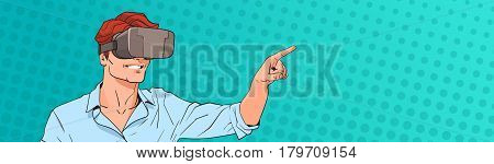 Man Wear Virtual Reality Digital Glasses Pop Art Colorful Retro Style Vector Illustration