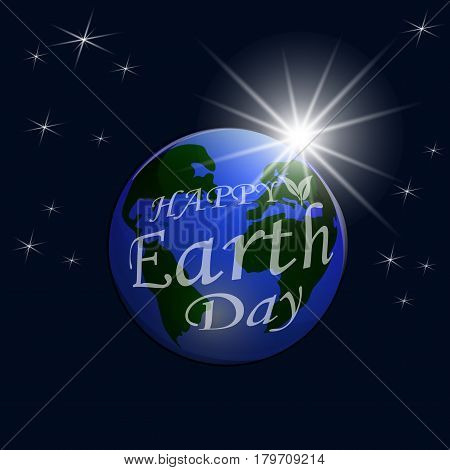 An inscription with a wish for Happy Earth Day. A view of the earth from space. Isolated on black background. Vector illustration
