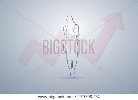 Business Woman Silhouette Financial Graph Arrow Up Background Vector Illustration