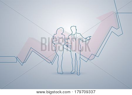 Business Woman And Man Silhouette Financial Graph Arrow Up Background Vector Illustration