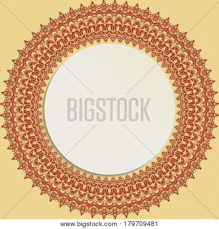 Round vector frame with floral elements and arabesques. Pattern with arabesques. Fine greeting card