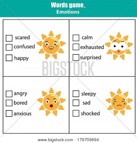 Words test educational game for children. Emotions and feelings theme, learning vocabulary. Choose the correct answer task