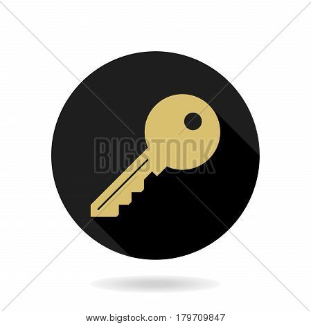 Fine vector golden key icon in the circle. Flat design and long shadow