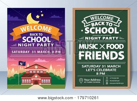 Invitation of back to school night party template design. Vector illustration. can be used for banner flyer leaflet layout web design invitation card poster background.