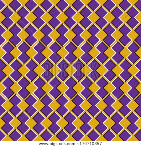 Optical illusion seamless pattern. Purple shapes move on yellow background.