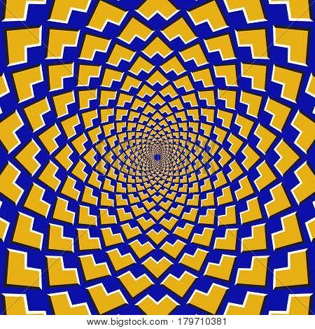 Optical motion illusion background. Yellow corners fly apart circularly from the center on blue background.