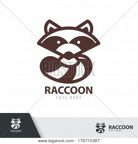 Raccoon symbol icon design isolated on white background. Vector illustration Logo template design.