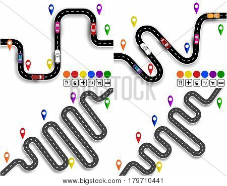 Set of winding roads with signs. Movement of vehicles. The path is indicated by the navigator. Vector illustration