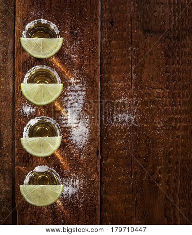 Tequila Shots On Wooden Background
