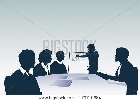 Silhouette Business People Team With Flip Chart Seminar Training Conference Brainstorming Presentation Vector Illustration