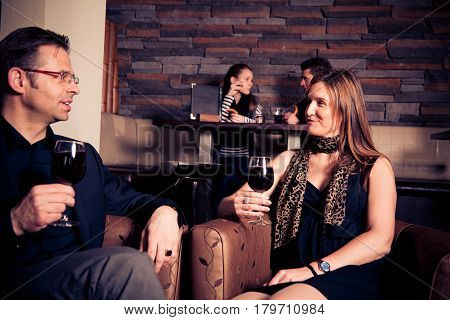adult couple having a glass of wine in a restaurant