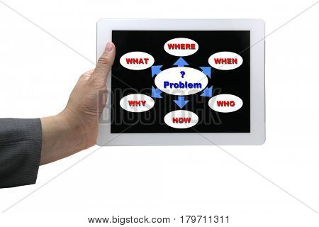 asain business man solving problem analysis on touch screen tablet