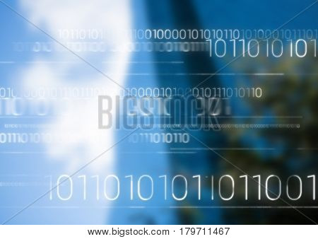Digital composite of White binary code against blurry building