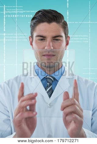 Digital composite of Man in lab coat holding up glass device against white interface and blue background