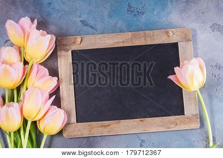 Pink and yellow tulips with copy space on blackboard