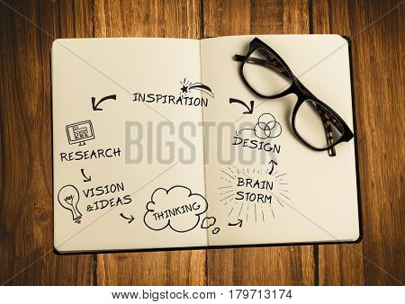 Digital composite of Open book with glasses black design doodles on wood table