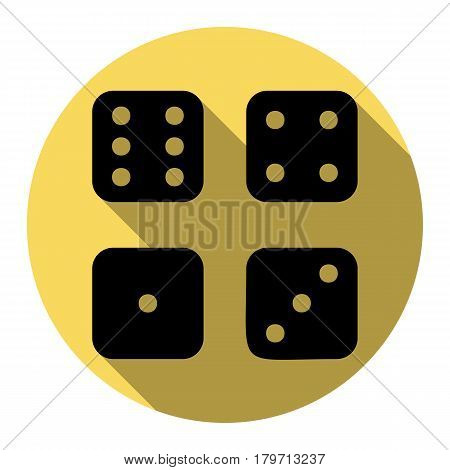 Devils bones, Ivories sign. Vector. Flat black icon with flat shadow on royal yellow circle with white background. Isolated.