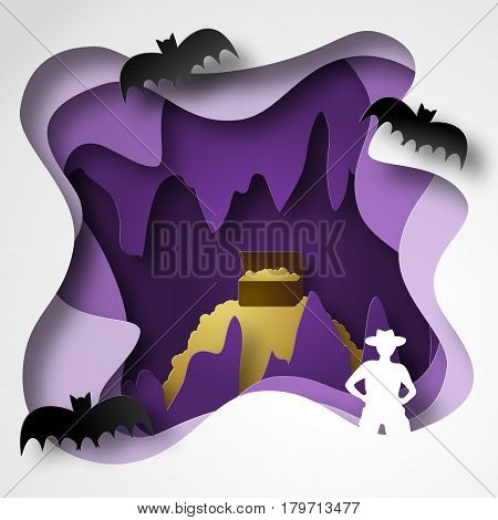 Cave paper cut shadow box with gold stalactites and stalagmites traveler and bats. Vector illustrations
