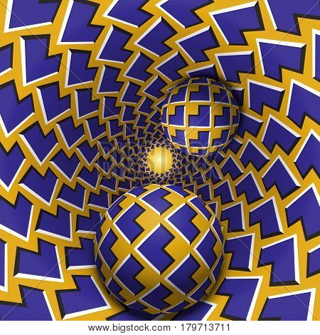 Optical illusion illustration. Two balls are moving in mottled hole. Blue corners on yellow pattern objects. Abstract fantasy in a surreal style.